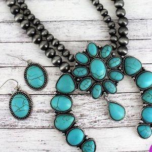 Turquoise Beaded Boho Navajo Pearl Statement Set